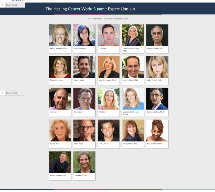 22 Experts for The Healing Cancer World Summit